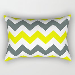 Chevron Pattern In Limelight Yellow Grey and White Rectangular Pillow