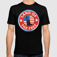 Land of the Free Black Mens Fitted Tee SMALL