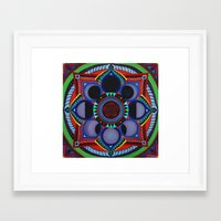 moon phase Framed Art Prints featuring Rose & Moon Phase Mandala by Paula Savage
