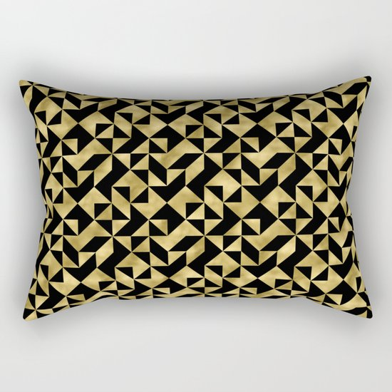 Black and gold geometric abstract pattern- Luxury design for your home Rectangular Pillow