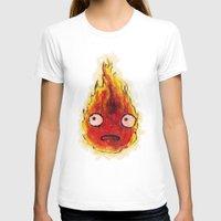 calcifer T-shirts featuring Burning Calcifer by KeithKarloff