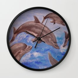 A Pod of Playful Jumping Dolphins Wall Clock