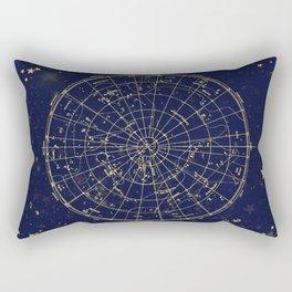 Metallic Gold Vintage Star Map 2 Rectangular Pillow