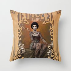 The Amazing Tattooed Lady Throw Pillow