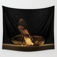 heels Wall Tapestries featuring Cinderella's High Heels by Mikito.Designs