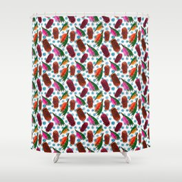 Beautiful Australian Native Florals - Grevillea and Beehive Ginger Shower Curtain