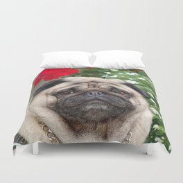 Pug with red flowers,animal print Duvet Cover
