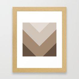 Brown Taupe Chevron Stripes Framed Art Print