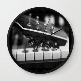 Guitar on Keys Wall Clock