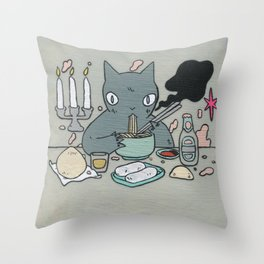 Noodle Eater Throw Pillow