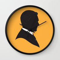 mad men Wall Clocks featuring MAD MEN / DON DRAPER by Alan Segama