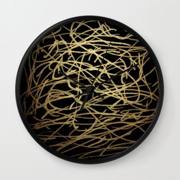 Painted Faux Gold Scribbles Pattern Wall Clock