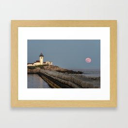 Full Flower Moon at Eastern point lighthouse Framed Art Print
