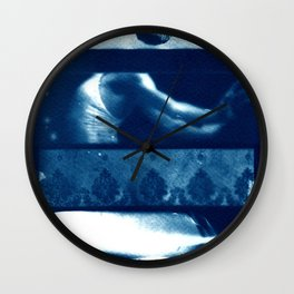 Fragments of the Past (24), art print, collage, blue print, cyanotype print, wall art, wall decor Wall Clock