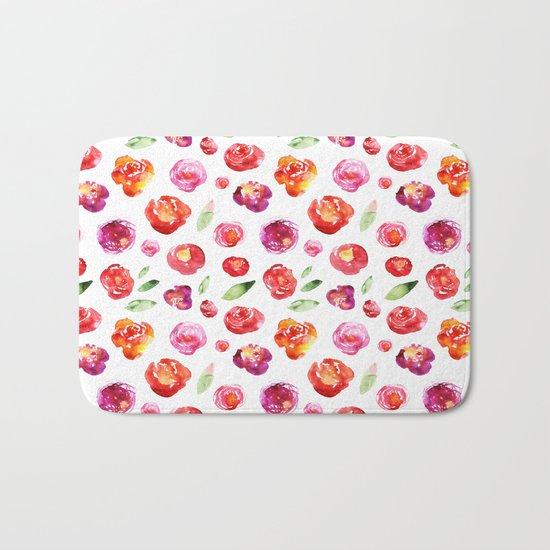 Watercolor flowers #3 Bath Mat