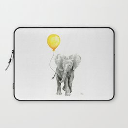 Elephant Watercolor Yellow Balloon Whimsical Baby Animals Laptop Sleeve