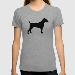Jack Russell Terrier black and white minimal dog pattern dog silhouette T-shirt