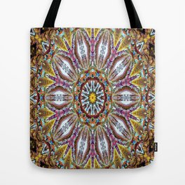 Lovely Healing Mandala  in Brilliant Colors: Black, Brown, Gold, Mauve, and Blue Tote Bag