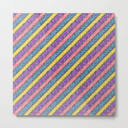 Pink & Purple Glitter Neon Stripes Metal Print