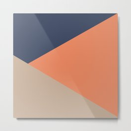 Jag: Minimalist Angled Color Block in French Blue, Peach, and Tan Metal Print