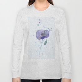 Blue Poppy flower illustration painting in watercolor Long Sleeve T-shirt