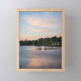 Morning Dew | Nature Landscape Photography of Peaceful Cabin by the Lake During Sunrise Framed Mini Art Print