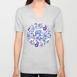 Pale Coral, White and Purple Elephant and Floral Watercolor Pattern Unisex V-Neck