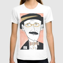 James Joyce with a Hat and Glasses T-shirt