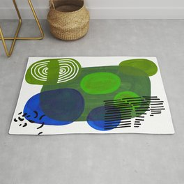 Modern Mid Century Fun Colorful Abstract Minimalist Painting Shapes & Patterns Swamp Monster Greens Rug