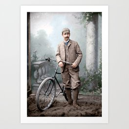 Charles James Piper (of Piper's Siding, Burnaby Lake), standing with a safety bicycle, c.1892 Art Print