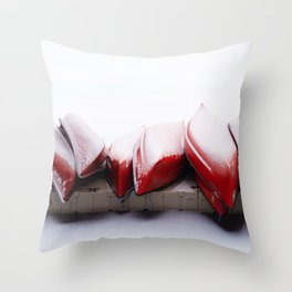 Snowfall on Red Canoes in Jasper National Park Throw Pillow