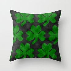 Shamrock pattern - black, green Throw Pillow