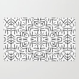 Black and White Ethnic Geometric Pattern Rug