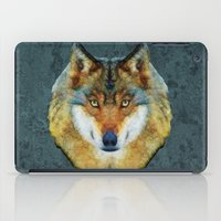 polygon iPad Cases featuring polygon wolf by Ancello