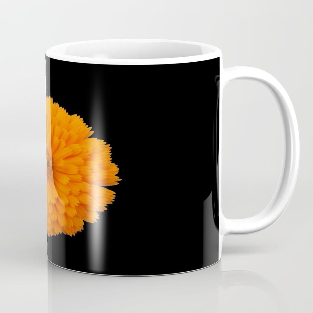 Marigold Flower On Black Background Mug by Spetenfia MUG7011250