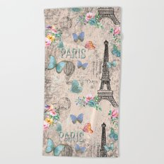 Paris - my love - France Nostalgy- pink French Vintage Beach Towel
