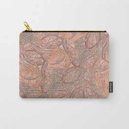 Contemporary Rust & Coral Leaves with Coral Background Carry-All Pouch