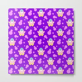 Cute happy little baby penguins flapping wings, bold pink retro dots pretty purple girly pattern Metal Print