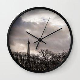 Eiffel tower cloudy day Wall Clock