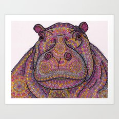 Hippie-Potamus (Pink) Art Print