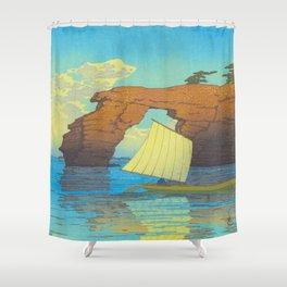 Kawase Hasui Natural Rock Arch w  Sailing Boat at Sea, Kawase Hasui, Japanese Woodblock Print  1937 Shower Curtain
