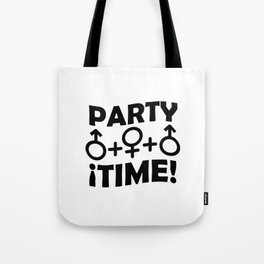 Party Time Threesome Sex Concept Typographic Design Tote Bag