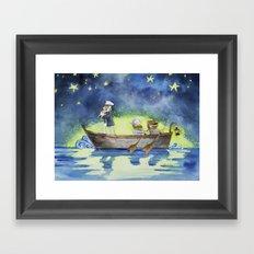 Night on the sea Framed Art Print