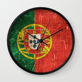 Vintage Aged and Scratched Portuguese Flag Wall Clock