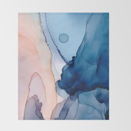 Saphire soft abstract watercolor fluid ink painting Throw Blanket