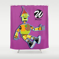 converse Shower Curtains featuring Tin Man with Converse Shoes by WIGEGA