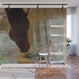 The Watering Hole  - Drinking Percheron Horse Wall Mural
