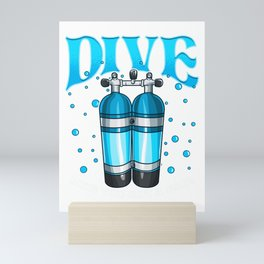 Dive Like You Got a Pair Funny Scuba Diving Pun Mini Art Print