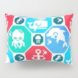 Marine Animals Geometric Pattern Pillow Sham