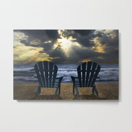 Two Adirondack Deck Chairs on the Beach with Waves crashing on the Shore Metal Print